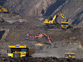 Excavators at mining area